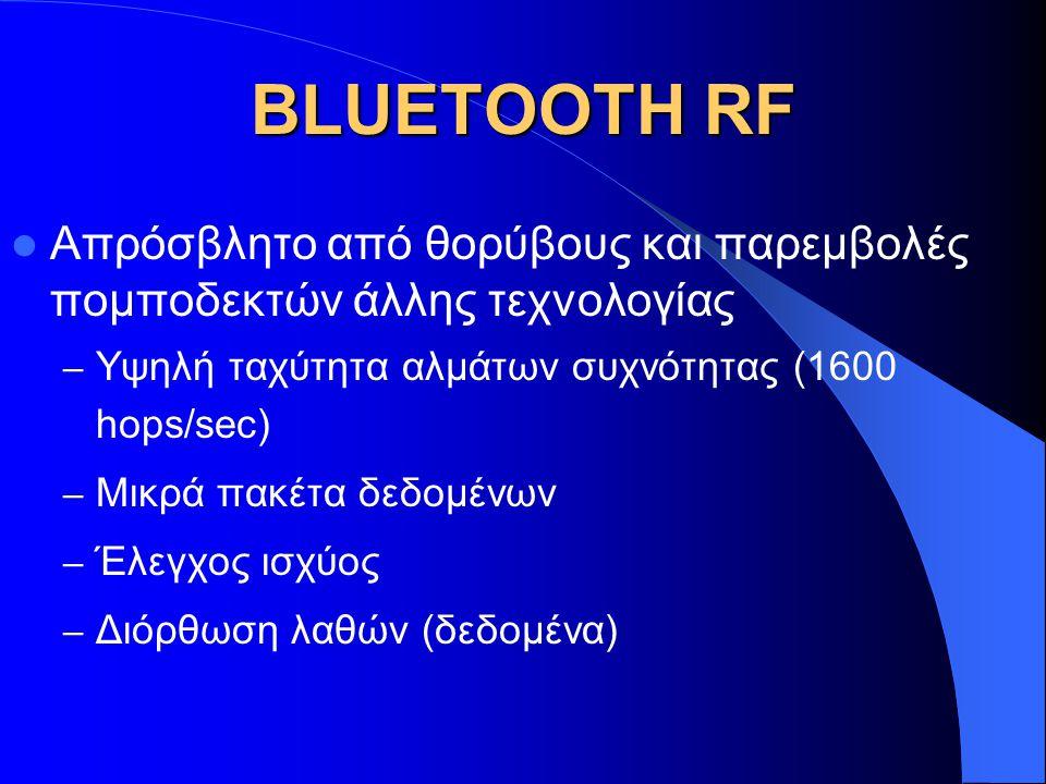 BLUETOOTH RF Απρόσβλητο από θορύβους και παρεμβολές πομποδεκτών άλλης τεχνολογίας – Υψηλή ταχύτητα αλμάτων συχνότητας (1600 hops/sec) – Μικρά πακέτα δ