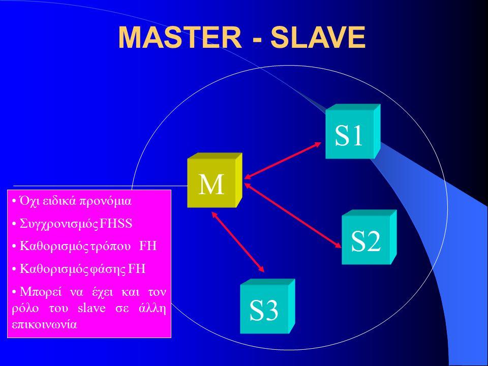 MASTER - SLAVE M S3 S2 S1 Όχι ειδικά προνόμια Συγχρονισμός FHSS Καθορισμός τρόπου FH Καθορισμός φάσης FΗ Μπορεί να έχει και τον ρόλο του slave σε άλλη