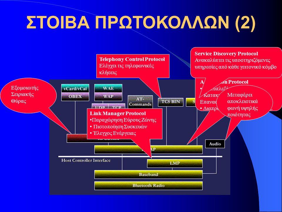 ΣΤΟΙΒΑ ΠΡΩΤΟΚΟΛΛΩΝ (2) Logical Link Control & Adaptation Protocol Πολυπλεξία Εφαρμογών Κατακερματισμός & Επανασύνδεση Πακέτων Διαπραγμάτευση QoS για A