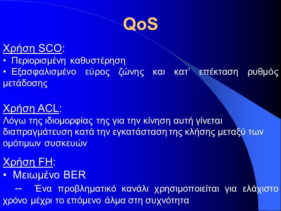 Χρήση SCO: Περιορισμένη καθυστέρηση Εξασφαλισμένο εύρος ζώνης και κατ' επέκταση ρυθμός μετάδοσης Χρήση ACL: Λόγω της ιδιομορφίας της για την κίνηση αυ