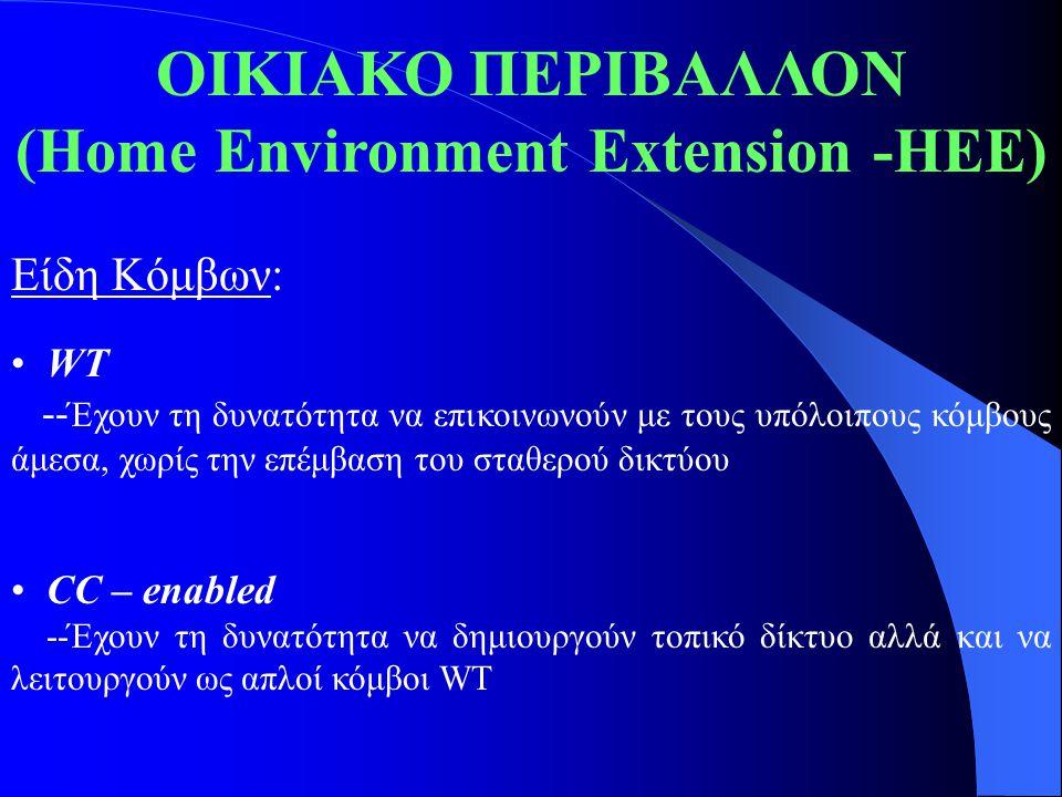 ΟΙΚΙΑΚΟ ΠΕΡΙΒΑΛΛΟΝ (Home Environment Extension -HEE) Είδη Κόμβων: WT -- Έχουν τη δυνατότητα να επικοινωνούν με τους υπόλοιπους κόμβους άμεσα, χωρίς τη