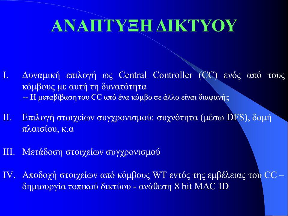 ΒLUETOOTH (1) Ανοικτή προδιαγραφή ασύρματης επικοινωνίας – www.bluetooth.com www.bluetooth.com Εστιάζεται σε κινητές ασύρματες ζεύξεις – Χαμηλού κόστους, μικρής κατανάλωσης ισχύος Επιτρέπει μικρά ασύρματα δίκτυα ad hoc – Piconet 1 master μέχρι και 7 active slaves – Scatternet Επικοινωνία μεταξύ Piconets