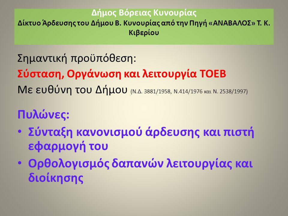 Σημαντική προϋπόθεση: Σύσταση, Οργάνωση και λειτουργία ΤΟΕΒ Με ευθύνη του Δήμου (Ν.Δ.