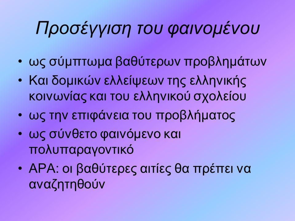 Προσέγγιση του φαινομένου ως σύμπτωμα βαθύτερων προβλημάτων Και δομικών ελλείψεων της ελληνικής κοινωνίας και του ελληνικού σχολείου ως την επιφάνεια του προβλήματος ως σύνθετο φαινόμενο και πολυπαραγοντικό ΑΡΑ: οι βαθύτερες αιτίες θα πρέπει να αναζητηθούν