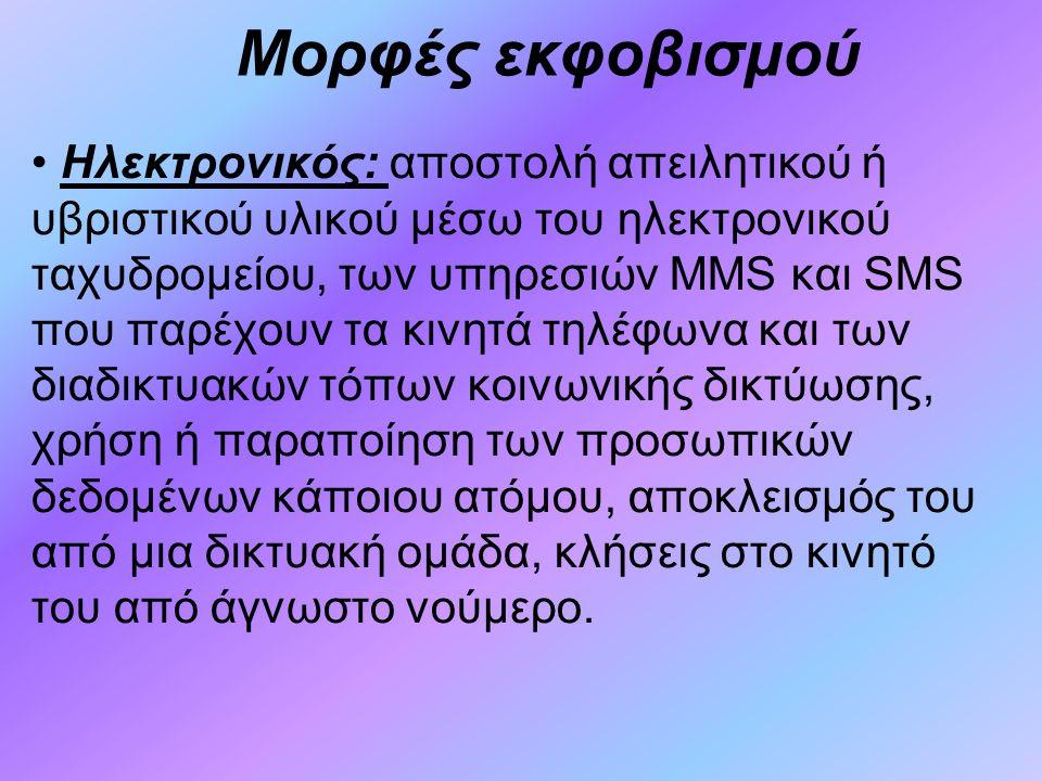 Μορφές εκφοβισμού Ηλεκτρονικός: αποστολή απειλητικού ή υβριστικού υλικού μέσω του ηλεκτρονικού ταχυδρομείου, των υπηρεσιών MMS και SMS που παρέχουν τα κινητά τηλέφωνα και των διαδικτυακών τόπων κοινωνικής δικτύωσης, χρήση ή παραποίηση των προσωπικών δεδομένων κάποιου ατόμου, αποκλεισμός του από μια δικτυακή ομάδα, κλήσεις στο κινητό του από άγνωστο νούμερο.
