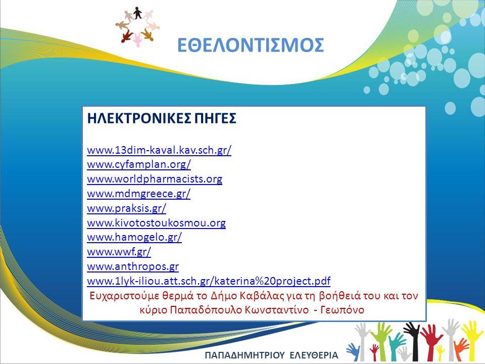 EΘΕΛΟΝΤΙΣΜΟΣ ΗΛΕΚΤΡΟΝΙΚΕΣ ΠΗΓΕΣ www.13dim-kaval.kav.sch.gr/ www.cyfamplan.org/ www.worldpharmacists.org www.mdmgreece.gr/ www.praksis.gr/ www.kivotost