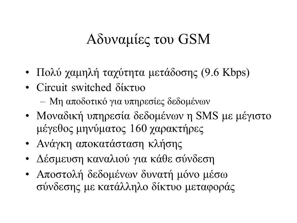 Αδυναμίες του GSM Πολύ χαμηλή ταχύτητα μετάδοσης (9.6 Kbps) Circuit switched δίκτυο –Μη αποδοτικό για υπηρεσίες δεδομένων Μοναδική υπηρεσία δεδομένων