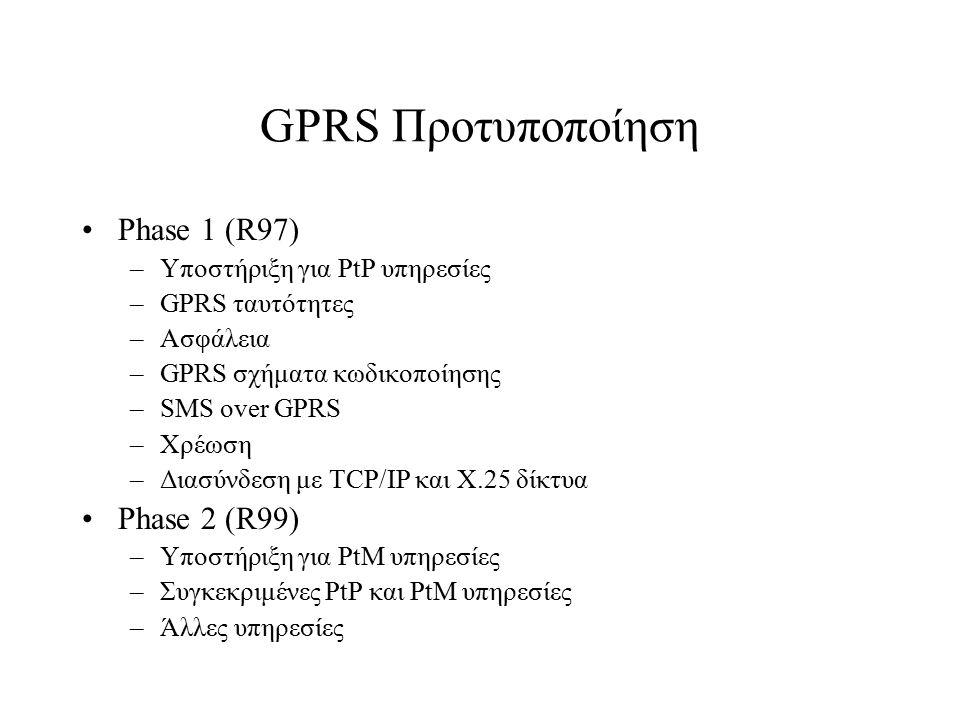 GPRS Προτυποποίηση Phase 1 (R97) –Υποστήριξη για PtP υπηρεσίες –GPRS ταυτότητες –Ασφάλεια –GPRS σχήματα κωδικοποίησης –SMS over GPRS –Χρέωση –Διασύνδε