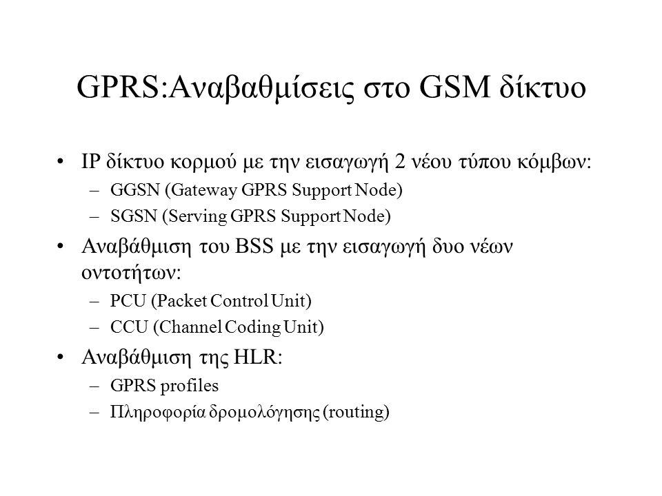 GPRS:Αναβαθμίσεις στο GSM δίκτυο IP δίκτυο κορμού με την εισαγωγή 2 νέου τύπου κόμβων: –GGSN (Gateway GPRS Support Node) –SGSN (Serving GPRS Support N
