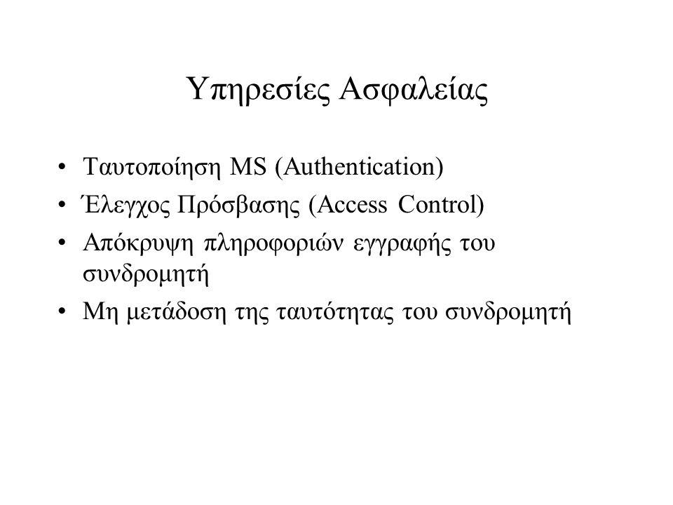 Υπηρεσίες Ασφαλείας Ταυτοποίηση MS (Authentication) Έλεγχος Πρόσβασης (Access Control) Απόκρυψη πληροφοριών εγγραφής του συνδρομητή Μη μετάδοση της τα