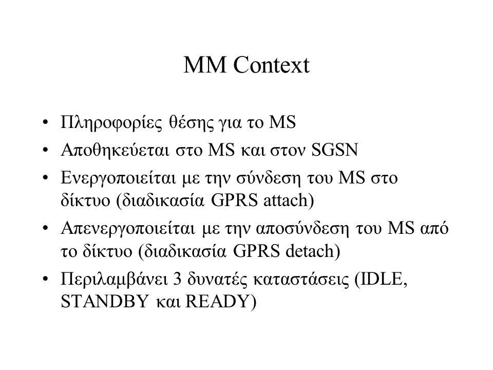 MM Context Πληροφορίες θέσης για το MS Αποθηκεύεται στο MS και στον SGSN Ενεργοποιείται με την σύνδεση του MS στο δίκτυο (διαδικασία GPRS attach) Απεν
