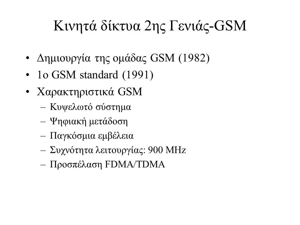 Κινητά δίκτυα 2ης Γενιάς-GSM Δημιουργία της ομάδας GSM (1982) 1ο GSM standard (1991) Χαρακτηριστικά GSM –Κυψελωτό σύστημα –Ψηφιακή μετάδοση –Παγκόσμια