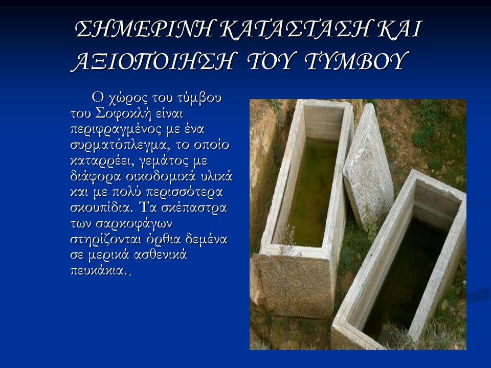 Με μία επίσκεψη στον τύμβο του Σοφοκλή μπορεί κανείς να διαπιστώσει ότι στην περιοχή διεξάγονται έργα.