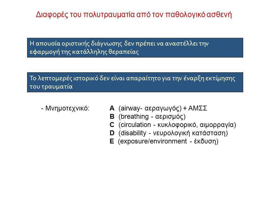 Διαφορές του πολυτραυματία από τον παθολογικό ασθενή Η απουσία οριστικής διάγνωσης δεν πρέπει να αναστέλλει την εφαρμογή της κατάλληλης θεραπείας Το λεπτομερές ιστορικό δεν είναι απαραίτητο για την έναρξη εκτίμησης του τραυματία - Μνημοτεχνικό:Α (airway- αεραγωγός) + ΑΜΣΣ Β (breathing - αερισμός) C (circulation - κυκλοφορικό, αιμορραγία) D (disability - νευρολογική κατάσταση) Ε (exposure/environment - έκδυση)
