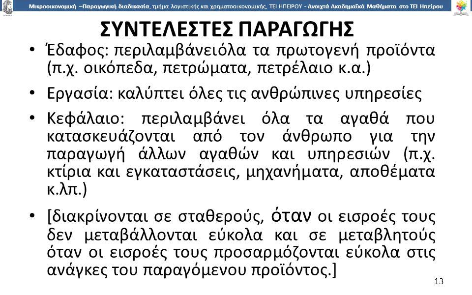1313 Μικροοικονομική –Παραγωγική διαδικασία, τμήμα λογιστικής και χρηματοοικονομικής, ΤΕΙ ΗΠΕΙΡΟΥ - Ανοιχτά Ακαδημαϊκά Μαθήματα στο ΤΕΙ Ηπείρου ΣΥΝΤΕΛ