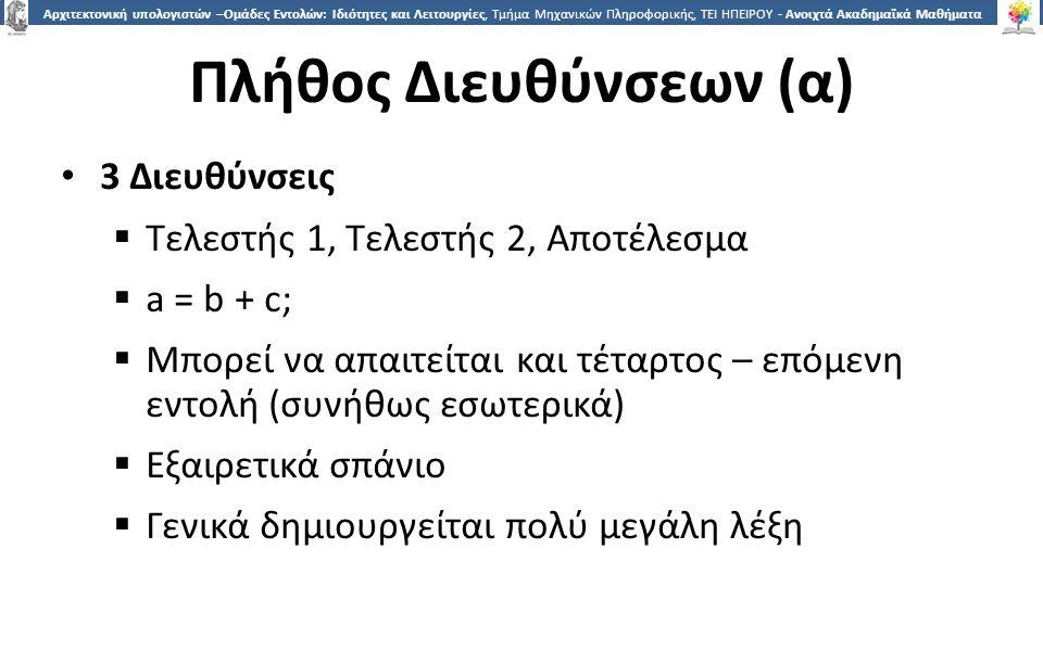 1212 Αρχιτεκτονική υπολογιστών –Ομάδες Εντολών: Ιδιότητες και Λειτουργίες, Τμήμα Μηχανικών Πληροφορικής, ΤΕΙ ΗΠΕΙΡΟΥ - Ανοιχτά Ακαδημαϊκά Μαθήματα στο ΤΕΙ Ηπείρου Πλήθος Διευθύνσεων (α) 3 Διευθύνσεις  Τελεστής 1, Τελεστής 2, Αποτέλεσμα  a = b + c;  Μπορεί να απαιτείται και τέταρτος – επόμενη εντολή (συνήθως εσωτερικά)  Εξαιρετικά σπάνιο  Γενικά δημιουργείται πολύ μεγάλη λέξη
