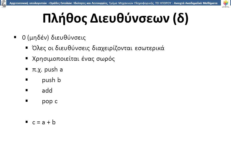 1515 Αρχιτεκτονική υπολογιστών –Ομάδες Εντολών: Ιδιότητες και Λειτουργίες, Τμήμα Μηχανικών Πληροφορικής, ΤΕΙ ΗΠΕΙΡΟΥ - Ανοιχτά Ακαδημαϊκά Μαθήματα στο ΤΕΙ Ηπείρου Πλήθος Διευθύνσεων (δ)  0 (μηδέν) διευθύνσεις  Όλες οι διευθύνσεις διαχειρίζονται εσωτερικά  Χρησιμοποιείται ένας σωρός  π.χ.