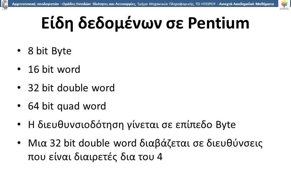 2020 Αρχιτεκτονική υπολογιστών –Ομάδες Εντολών: Ιδιότητες και Λειτουργίες, Τμήμα Μηχανικών Πληροφορικής, ΤΕΙ ΗΠΕΙΡΟΥ - Ανοιχτά Ακαδημαϊκά Μαθήματα στο ΤΕΙ Ηπείρου Είδη δεδομένων σε Pentium 8 bit Byte 16 bit word 32 bit double word 64 bit quad word Η διευθυνσιοδότηση γίνεται σε επίπεδο Byte Μια 32 bit double word διαβάζεται σε διευθύνσεις που είναι διαιρετές δια του 4