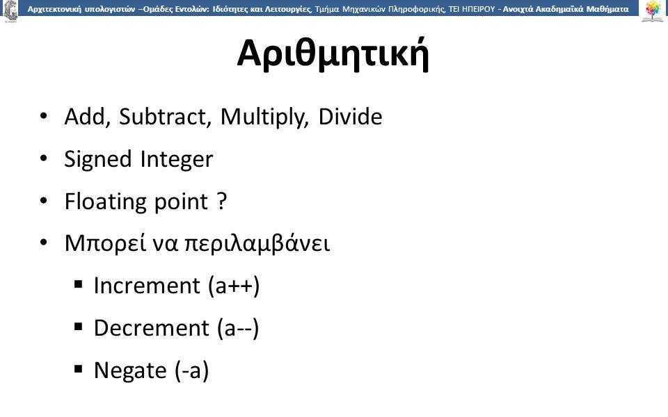 2525 Αρχιτεκτονική υπολογιστών –Ομάδες Εντολών: Ιδιότητες και Λειτουργίες, Τμήμα Μηχανικών Πληροφορικής, ΤΕΙ ΗΠΕΙΡΟΥ - Ανοιχτά Ακαδημαϊκά Μαθήματα στο ΤΕΙ Ηπείρου Αριθμητική Add, Subtract, Multiply, Divide Signed Integer Floating point .
