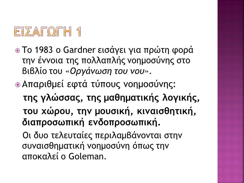  Το 1983 ο Gardner εισάγει για πρώτη φορά την έννοια της πολλαπλής νοημοσύνης στο βιβλίο του «Οργάνωση του νου».  Απαριθμεί εφτά τύπους νοημοσύνης: