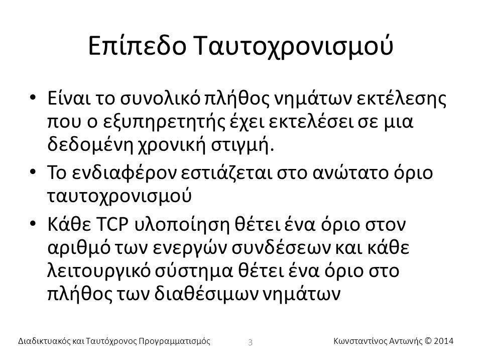 Διαδικτυακός και Ταυτόχρονος ΠρογραμματισμόςΚωνσταντίνος Αντωνής © 2014 Επίπεδο Ταυτοχρονισμού Είναι το συνολικό πλήθος νημάτων εκτέλεσης που ο εξυπηρ