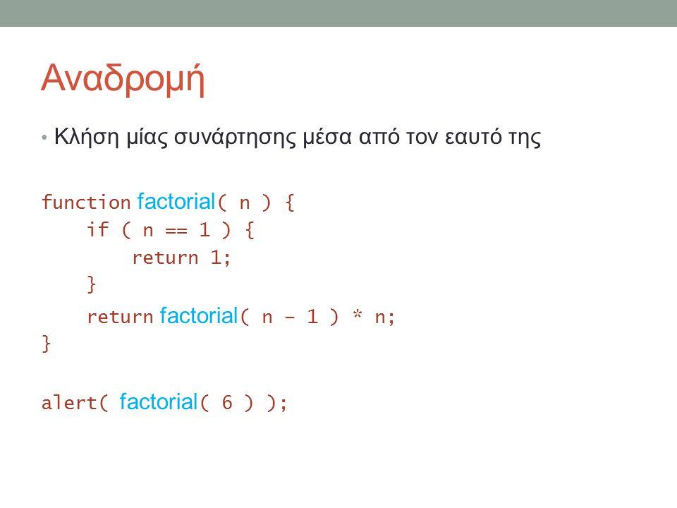 Αναδρομή Κλήση μίας συνάρτησης μέσα από τον εαυτό της function factorial ( n ) { if ( n == 1 ) { return 1; } return factorial ( n – 1 ) * n; } alert( factorial ( 6 ) );