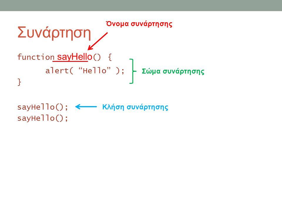 Συνάρτηση function sayHello () { alert( Hello ); } sayHello(); Όνομα συνάρτησης Σώμα συνάρτησης Κλήση συνάρτησης