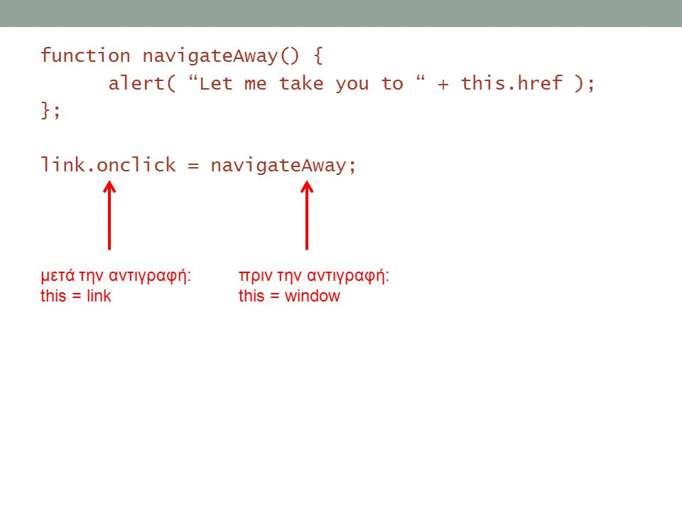 function navigateAway() { alert( Let me take you to + this.href ); }; link.onclick = navigateAway; πριν την αντιγραφή: this = window μετά την αντιγραφή: this = link