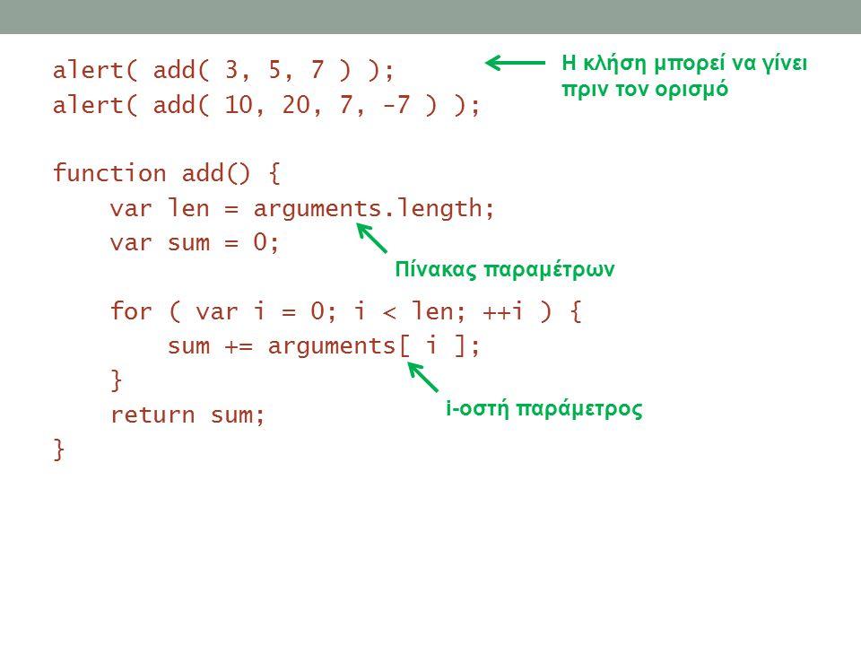 Τοπικές και καθολικές μεταβλητές Οι καθολικές μεταβλητές είναι προσβάσιμες από παντού Ορίζονται με var εκτός όλων των συναρτήσεων Η Javascript θεωρεί ότι μία μεταβλητή είναι καθολική όταν δεν ορίζεται Οι τοπικές μεταβλητές είναι προσβάσιμες μόνο μέσα στη συνάρτηση Ορίζονται με var εντός της συνάρτησης