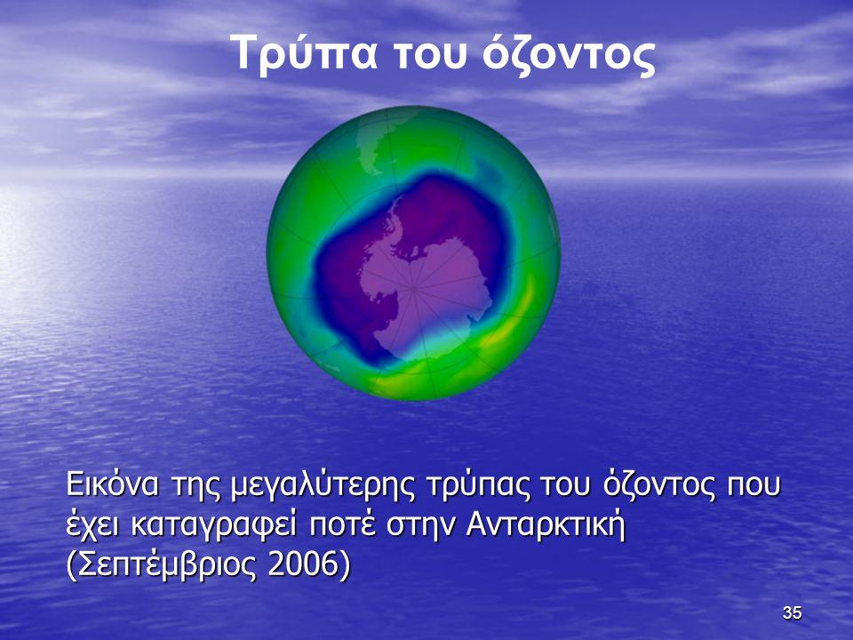 35 Εικόνα της μεγαλύτερης τρύπας του όζοντος που έχει καταγραφεί ποτέ στην Ανταρκτική (Σεπτέμβριος 2006) Τρύπα του όζοντος