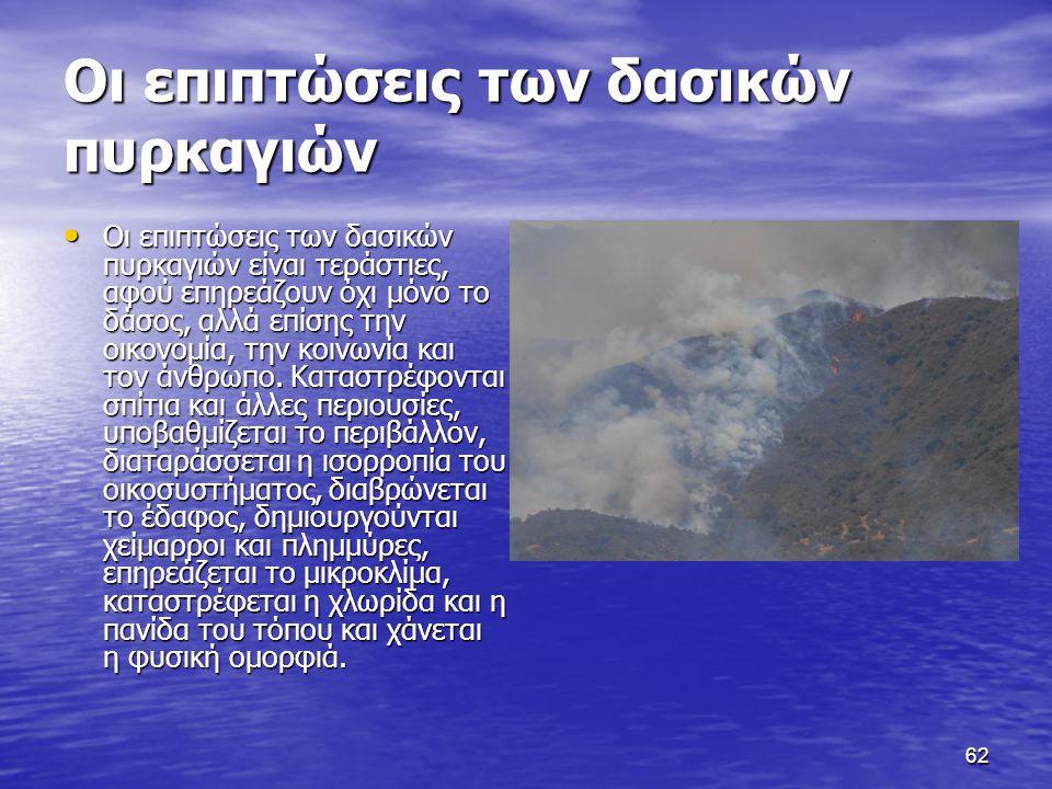 62 Οι επιπτώσεις των δασικών πυρκαγιών Οι επιπτώσεις των δασικών πυρκαγιών είναι τεράστιες, αφού επηρεάζουν όχι μόνο το δάσος, αλλά επίσης την οικονομία, την κοινωνία και τον άνθρωπο.