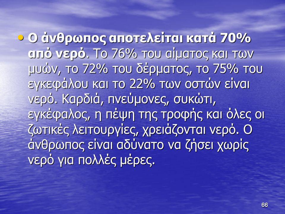 66 Ο άνθρωπος αποτελείται κατά 70% από νερό.
