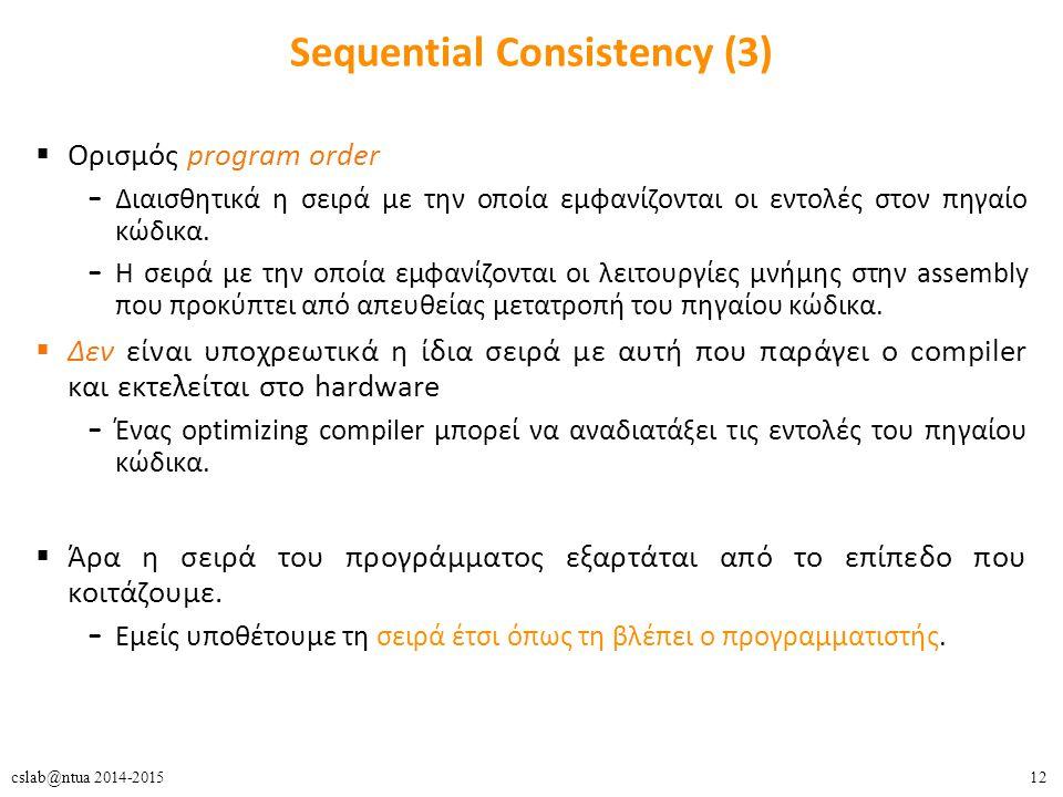 12cslab@ntua 2014-2015 Sequential Consistency (3)  Ορισμός program order – Διαισθητικά η σειρά με την οποία εμφανίζονται οι εντολές στον πηγαίο κώδικα.