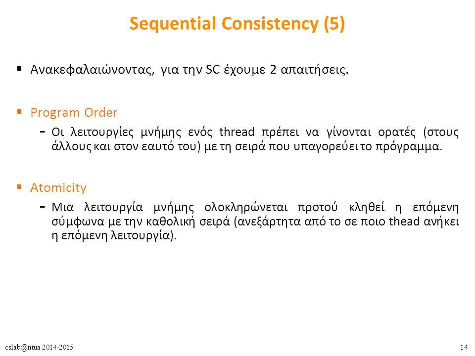 14cslab@ntua 2014-2015 Sequential Consistency (5)  Ανακεφαλαιώνοντας, για την SC έχουμε 2 απαιτήσεις.  Program Order – Οι λειτουργίες μνήμης ενός th