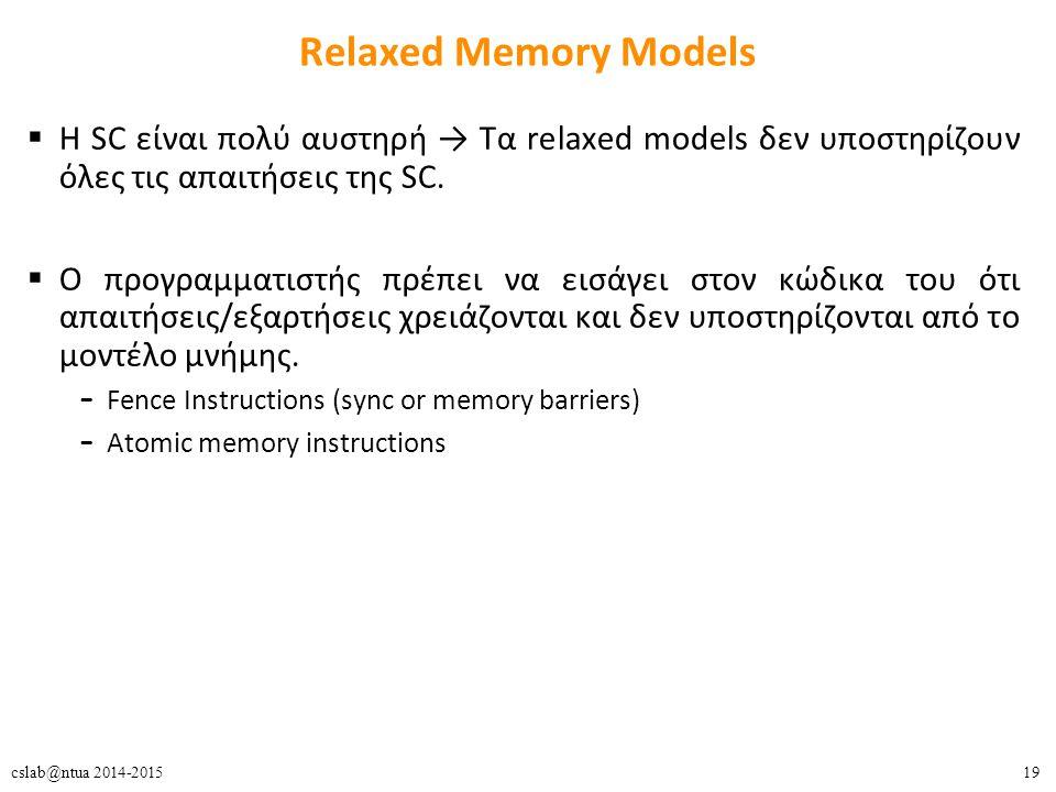 19cslab@ntua 2014-2015 Relaxed Memory Models  Η SC είναι πολύ αυστηρή → Τα relaxed models δεν υποστηρίζουν όλες τις απαιτήσεις της SC.  O προγραμματ