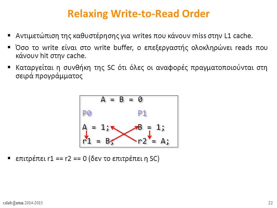 22cslab@ntua 2014-2015 Relaxing Write-to-Read Order  Αντιμετώπιση της καθυστέρησης για writes που κάνουν miss στην L1 cache.