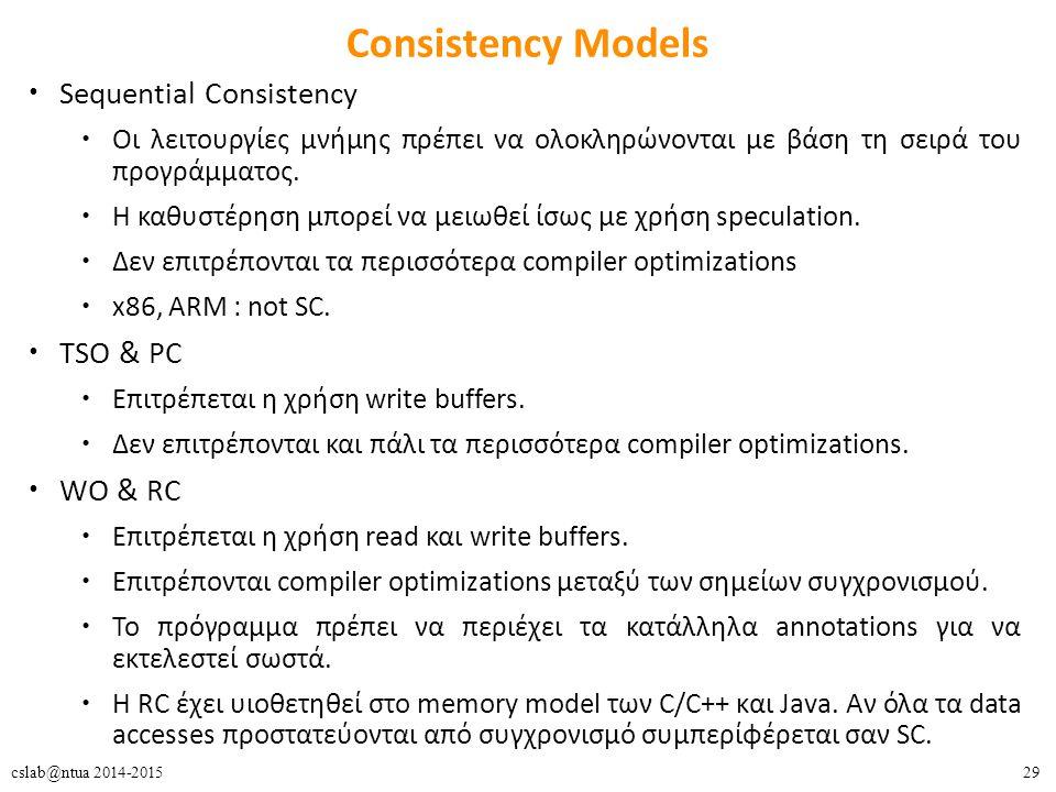 29cslab@ntua 2014-2015 Consistency Models Sequential Consistency Οι λειτουργίες μνήμης πρέπει να ολοκληρώνονται με βάση τη σειρά του προγράμματος. Η κ