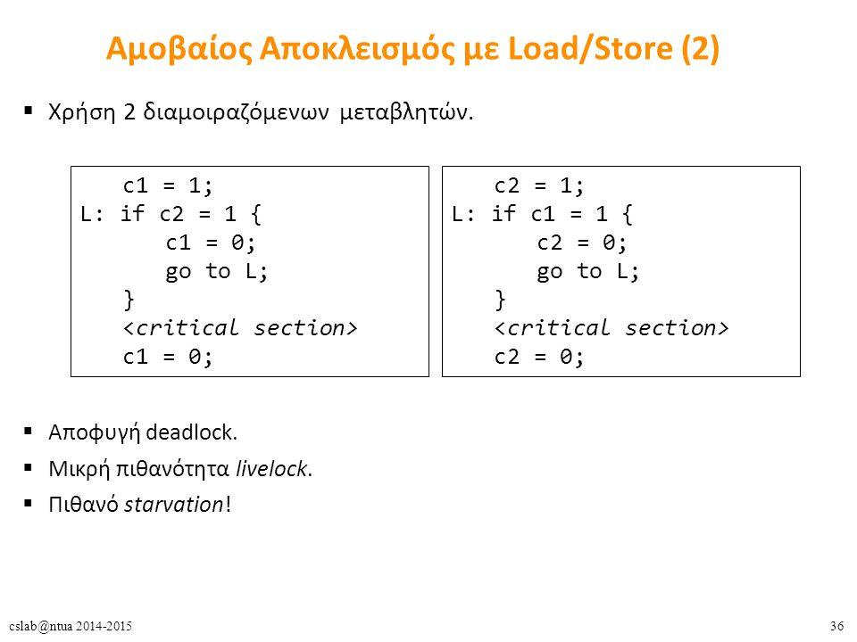 36cslab@ntua 2014-2015 Αμοβαίος Αποκλεισμός με Load/Store (2) c1 = 1; L: if c2 = 1 { c1 = 0; go to L; } c1 = 0;  Χρήση 2 διαμοιραζόμενων μεταβλητών.