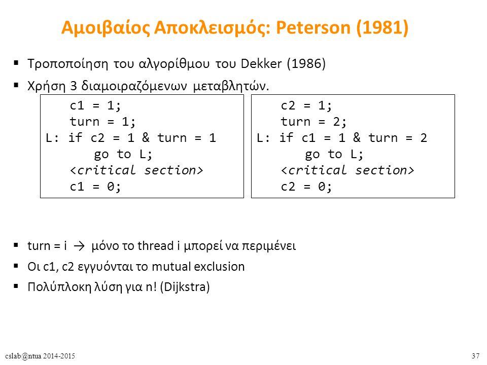 37cslab@ntua 2014-2015 Αμοιβαίος Αποκλεισμός: Peterson (1981) c1 = 1; turn = 1; L: if c2 = 1 & turn = 1 go to L; c1 = 0;  Τροποποίηση του αλγορίθμου