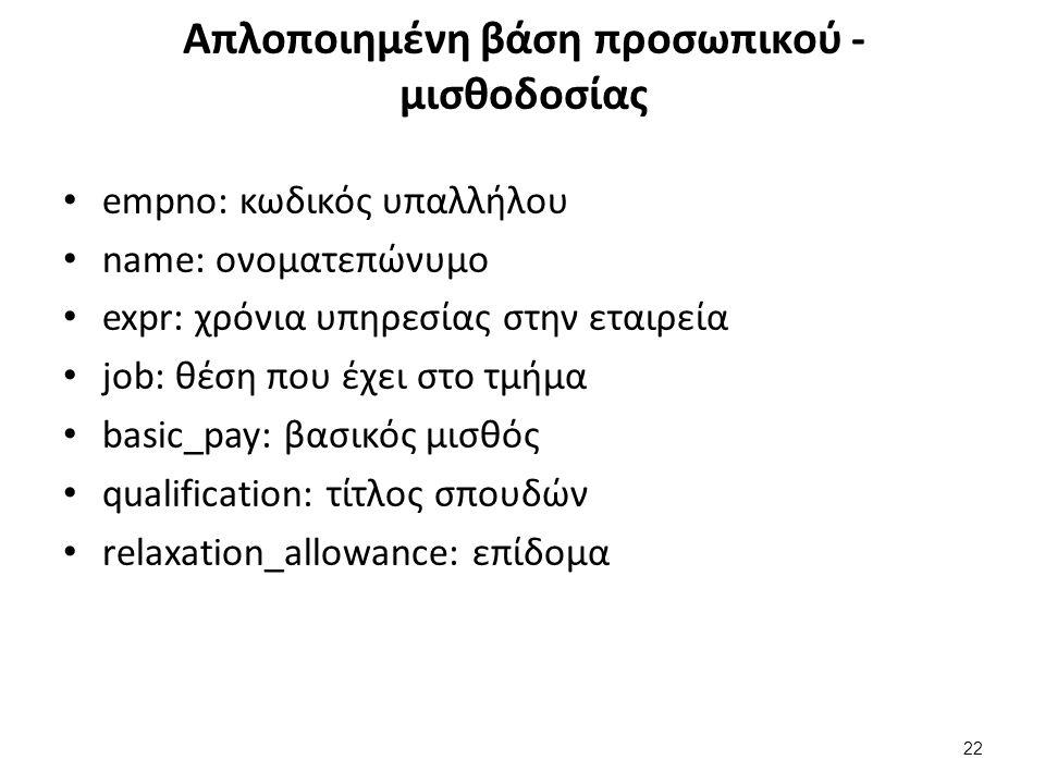 Απλοποιημένη βάση προσωπικού - μισθοδοσίας empno: κωδικός υπαλλήλου name: ονοματεπώνυμο expr: χρόνια υπηρεσίας στην εταιρεία job: θέση που έχει στο τμήμα basic_pay: βασικός μισθός qualification: τίτλος σπουδών relaxation_allowance: επίδομα 22