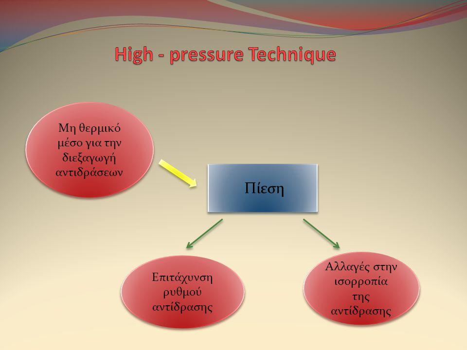 Πίεση Μη θερμικό μέσο για την διεξαγωγή αντιδράσεων Επιτάχυνση ρυθμού αντίδρασης Αλλαγές στην ισορροπία της αντίδρασης