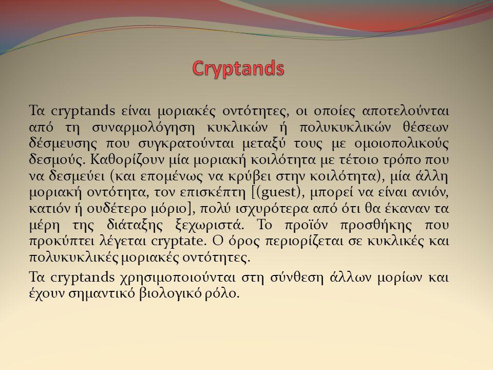 Τα cryptands είναι μοριακές οντότητες, οι οποίες αποτελούνται από τη συναρμολόγηση κυκλικών ή πολυκυκλικών θέσεων δέσμευσης που συγκρατούνται μεταξύ τους με ομοιοπολικούς δεσμούς.