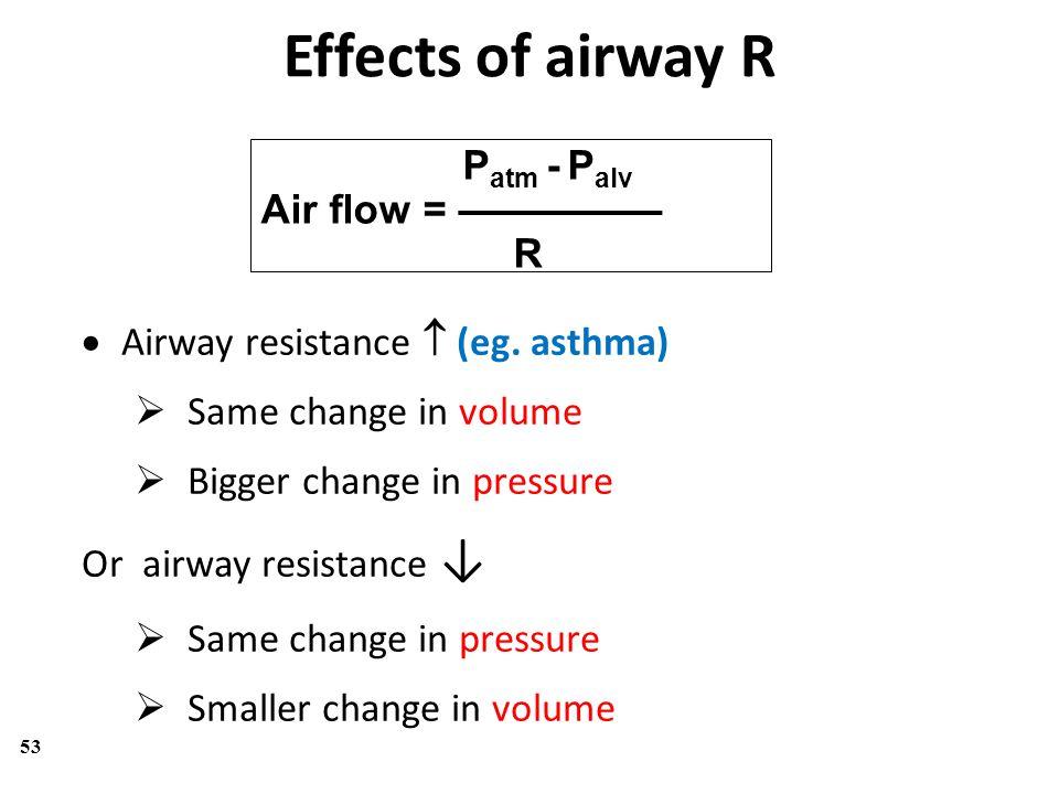 53 P atm - P alv Air flow = ————— R  Airway resistance  (eg. asthma)  Same change in volume  Bigger change in pressure Or airway resistance ↓  Sa
