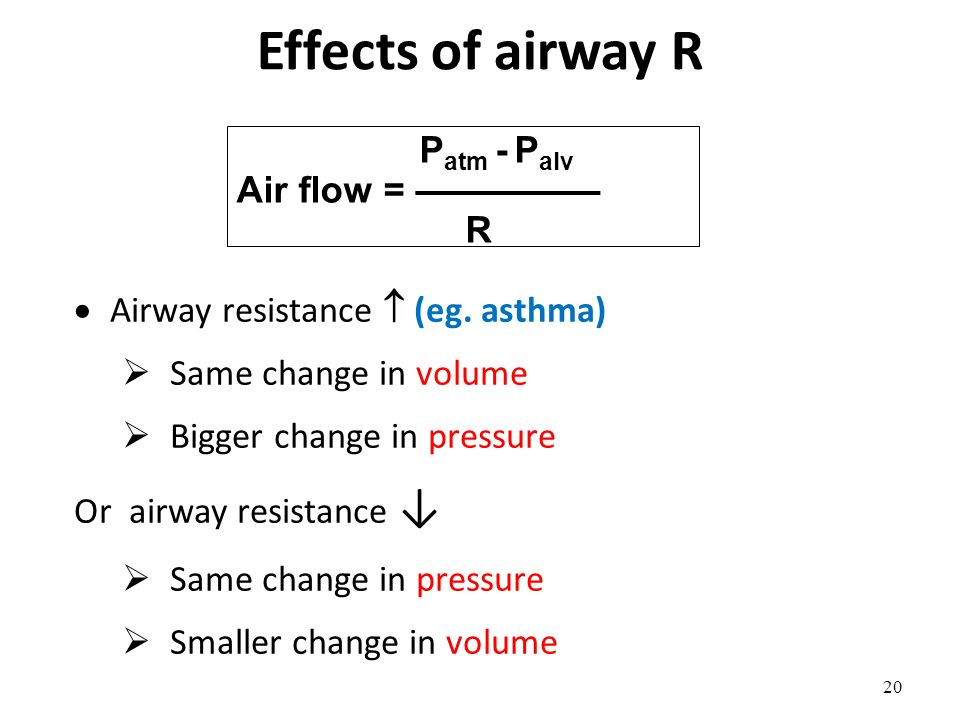 20 P atm - P alv Air flow = ————— R  Airway resistance  (eg. asthma)  Same change in volume  Bigger change in pressure Or airway resistance ↓  Sa