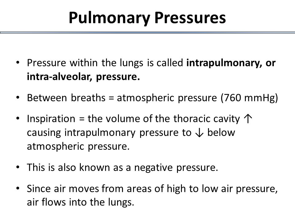Pressure within the lungs is called intrapulmonary, or intra-alveolar, pressure. Between breaths = atmospheric pressure (760 mmHg) Inspiration = the v