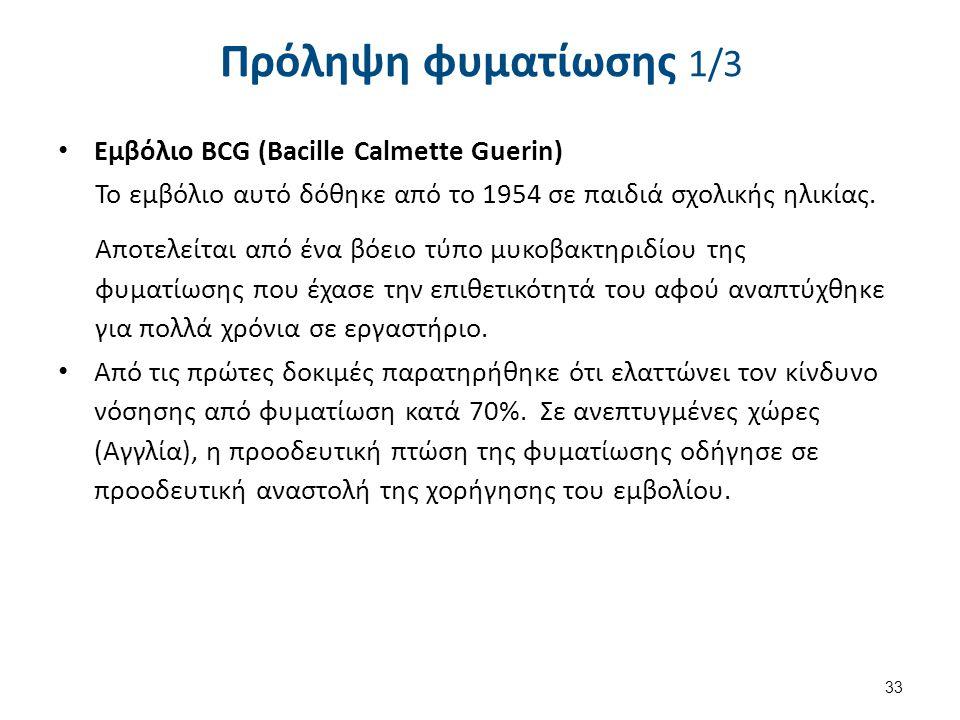 Πρόληψη φυματίωσης 1/3 Εμβόλιο BCG (Bacille Calmette Guerin) Το εμβόλιο αυτό δόθηκε από το 1954 σε παιδιά σχολικής ηλικίας. Αποτελείται από ένα βόειο