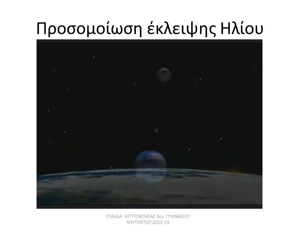 Προσομοίωση έκλειψης Ηλίου ΟΜΑΔΑ ΑΣΤΡΟΝΟΜΙΑΣ 3ου ΓΥΜΝΑΣΙΟΥ ΝΑΥΠΑΚΤΟΥ 2013-14
