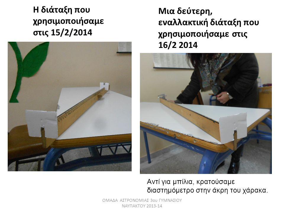 Η διάταξη που χρησιμοποιήσαμε στις 15/2/2014 Μια δεύτερη, εναλλακτική διάταξη που χρησιμοποιήσαμε στις 16/2 2014 ΟΜΑΔΑ ΑΣΤΡΟΝΟΜΙΑΣ 3ου ΓΥΜΝΑΣΙΟΥ ΝΑΥΠΑ