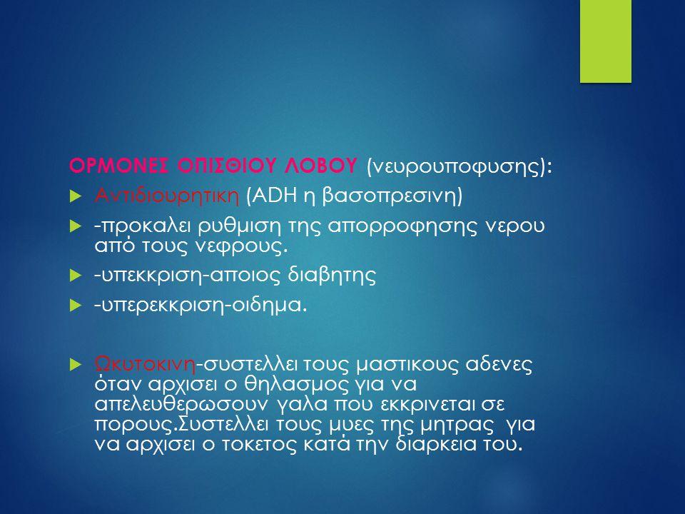 ΟΡΜΟΝΕΣ ΟΠΙΣΘΙΟΥ ΛΟΒΟΥ (νευρουποφυσης):  Αντιδιουρητικη (ADH η βασοπρεσινη)  -προκαλει ρυθμιση της απορροφησης νερου από τους νεφρους.  -υπεκκριση-