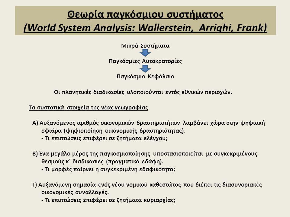 Θεωρία παγκόσμιου συστήματος (World System Analysis: Wallerstein, Arrighi, Frank) Μικρά Συστήματα Παγκόσμιες Αυτοκρατορίες Παγκόσμιο Κεφάλαιο Οι πλανη